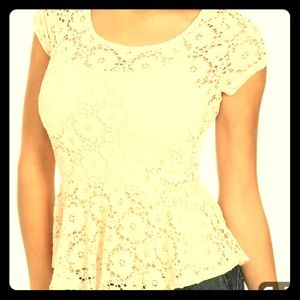 Candies Peplum & Lace Top